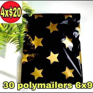 30 poly mailers 6x9 black with gold stars print